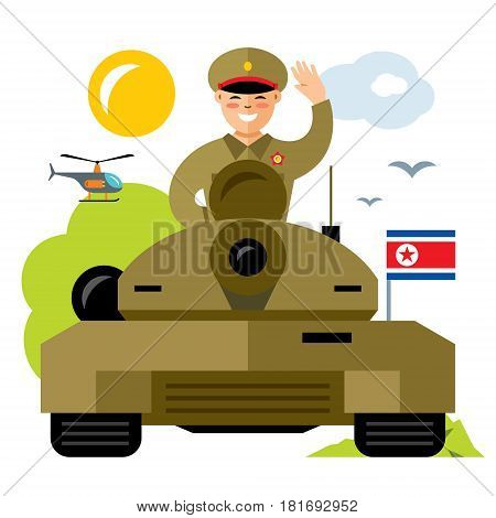 Korean in the turret. Isolated on a white background