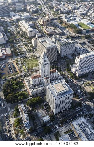 Aerial view of Los Angeles City Hall and downtown Civic Center buildings.