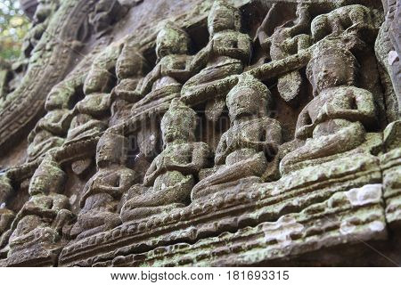 Detail of carvings in Angkor Wat UNESCO world heritage. Cambodia.