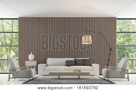 Modern living room decorate wall with wooden lattice 3d rendering image.There is large window overlooking to nature and forest