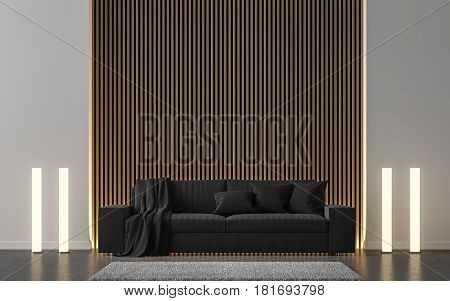 Modern living room decorated wall with wooden lattice 3d rendering image.There are black sofa concrete floor lamp and wall