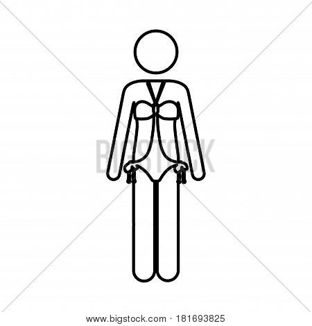 monochrome contour pictogram of woman in one piece swimsuit vector illustration