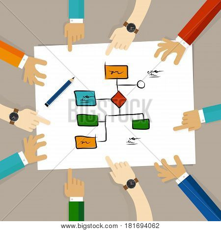 flow chart process decision making team work on paper looking into business concept of planning hands pointing collaboration group in office vector