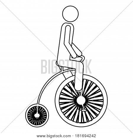 monochrome contour pictogram of man in penny farthing vector illustration