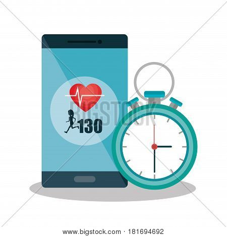 smartphone with cardiology app vector illustration design