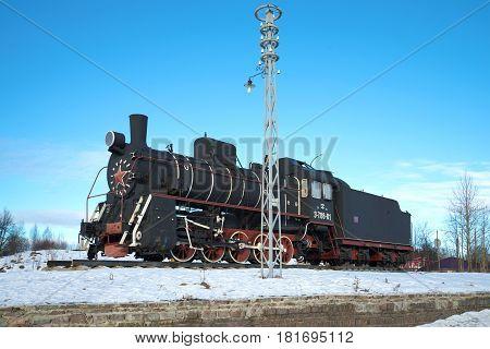 SORTAVALA, RUSSIA - FEBRUARY 18, 2017: Russian and Soviet steam locomotive