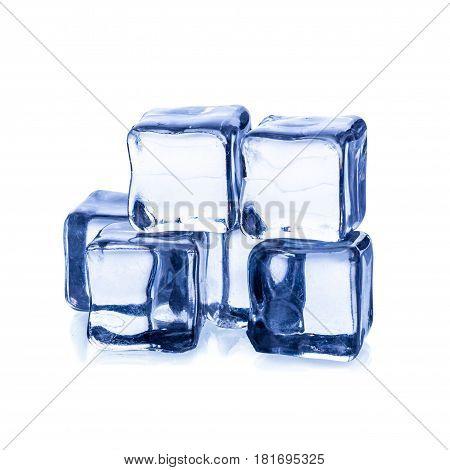 Melting Ice Cubes Isolated On White Bacground.