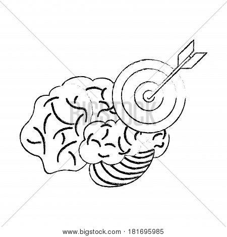 brain target objetive sketch vector illustration eps 10