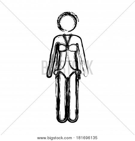 monochrome sketch pictogram of woman in one piece swimsuit vector illustration
