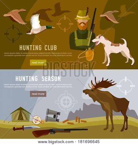 Hunting sport banners hunter with rifle and dog in forest. Ammunition of professional hunter