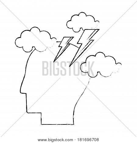 head human brainstorm creativity sketch vector illustration eps 10