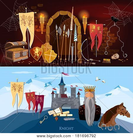 Medieval banners old king joust knight medieval castle. Medieval dungeon ancient treasure chest abandoned building interior castle door