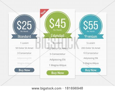 Pricing table template with three plans for websites, vector eps10 illustration