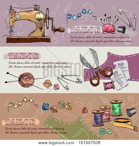 Tailor banners vector. Studio on tailoring tools seamstress fashion designer needlework sewing machine hand drawn