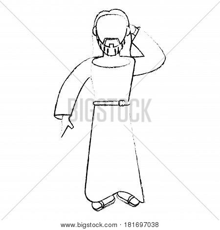 jesus christ devotion sacrifice sketch vector illustration eps 10