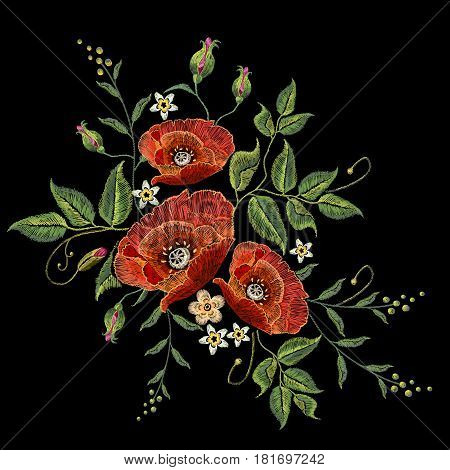 Poppies embroidery on black background. Decorative floral embroidery elegant flowers poppy vector