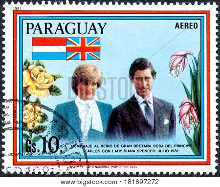 UKRAINE - CIRCA 2017: A postage stamp printed in Paraguai shows The wedding of Charles Prince of Wales and Lady Diana Spencer took place on 29.07.81 at St Paul's Cathedral London circa 1981