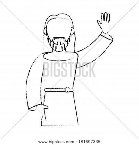 jesus christ devotion sacrifice sketch vector illustration eps 10 poster