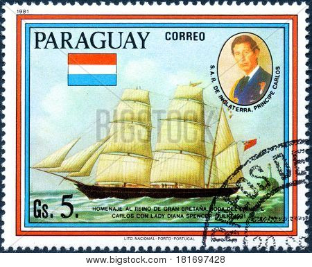 UKRAINE - CIRCA 2017: A postage stamp printed in Paraguai shows sailing ship Rapido and portrait of Prince Charles from the series Wedding of Prince Charles and Lady Diana Spencer circa 1981