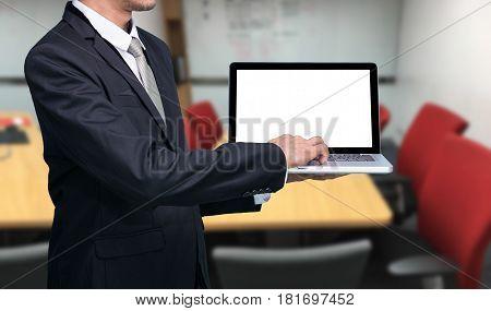 Businessman Hold Laptop Computer
