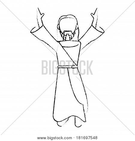 jesus christ devotion sacrifice sketch vector illustration eps 10
