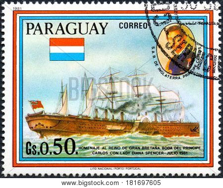 UKRAINE - CIRCA 2017: A postage stamp printed in Paraguai shows sailing ship SS Great Eastern and Prince Charles from the series Wedding of Prince Charles and Lady Diana Spencer circa 1981