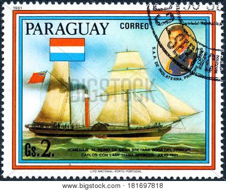 UKRAINE - CIRCA 2017: A postage stamp printed in Paraguai shows sailing ship William Fawcett and portrait of Prince Charles from the series Wedding of Prince Charles and Lady Diana circa 1981