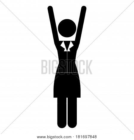 monochrome pictogram of business woman in dress with extended arms vector illustration