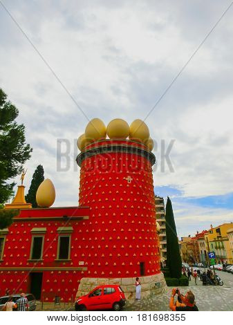 Figueres, Spain - September 15, 2015: Dali Museum in Figueres, Spain on September 15, 2015. Museum was opened on September 28, 1974 and houses largest collection of works by Salvador Dali.