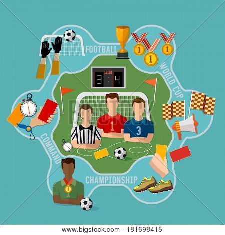 Soccer World Cup football team signs and symbols elements of professional soccer flat design