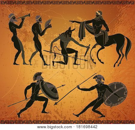 Ancient Greece scene. Ancient Greek mythology. Centaur people gods of an Olymp. Classical Ancient Greek style. Black figure pottery