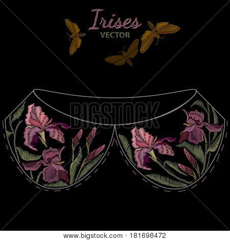 Embroidery irises template for collar. Spring purple irises against black background classic embroidery flowers vector