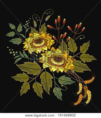 Embroidery sunflowers flowers wheat. Beautiful bouquet sunflowers embroidery template for clothes
