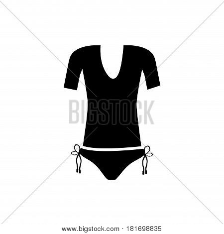 monochrome silhouette of female swimsuit thong and t-shirt vector illustration