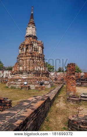 Ruined pagoda at Mahathat temple Ayuthaya Thailand.