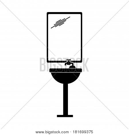 monochrome silhouette of sink bathroom and mirror vector illustration
