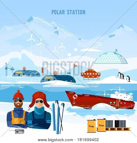 Travel to Antarctica concept. Scientific station on North Pole. Fauna of Antarctic polar bear penguins. Ice breaker and polar explorers. Arctic and Antarctic tourism poster
