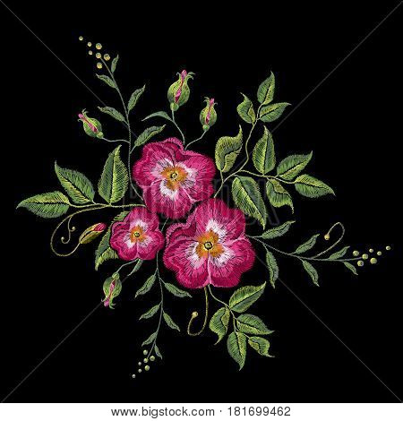 Embroidery wild rose dogrose flowers. Classic style embroidery beautiful dogrose vector