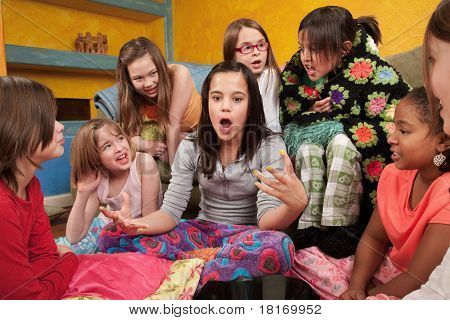 Excited Girl With Friends