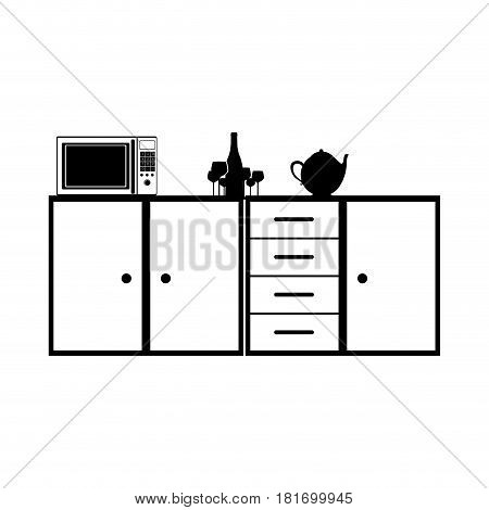 monochrome silhouette of kitchen shelf and drawers and tea kettle and microwave vector illustration
