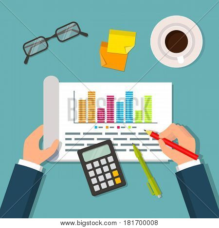 Hands holding open notebook with business plan data charts and graphs. Business planning table with top view of office supplies glasses calculator and cup. Flat style EPS10 vector illustration.
