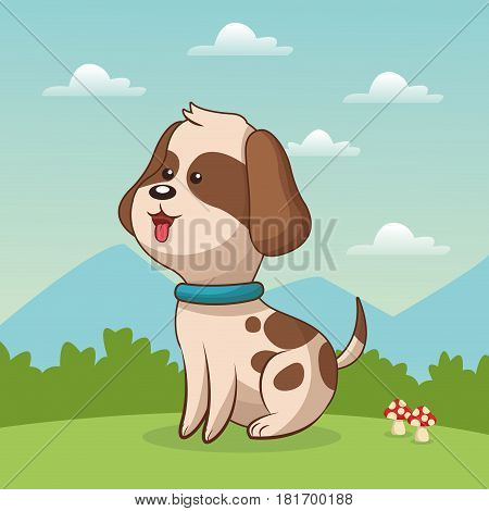 cute doggy sitting grass landscape vector illustration eps 10