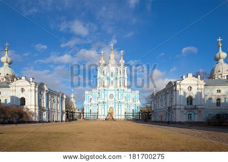 The Cathedral of the Resurrection of Christ in the architectural ensemble of the Smolny Convent on a sunny April day. Saint-Petersburg, Russia