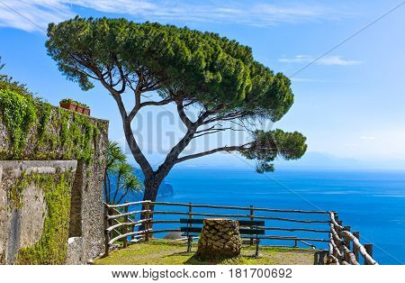 Italy, Amalfitana Coast, Ravello, view on the sea from Villa Rufolo garden