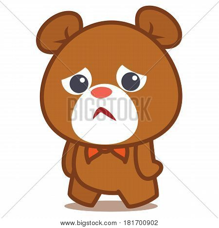 Sad bear character vector illustration collection stock