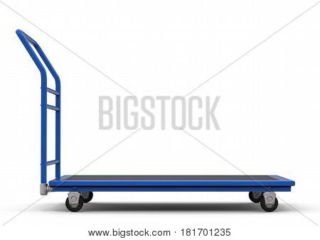 3d rendering warehouse trolley or platform trolley on white background