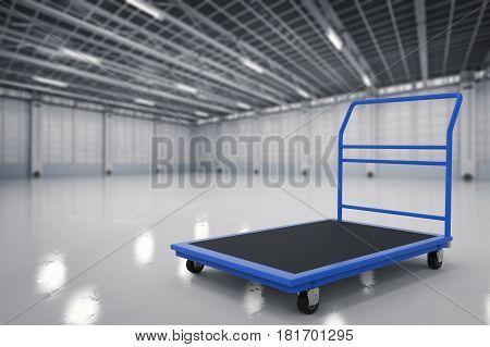 3d rendering warehouse trolley or platform trolley in factory