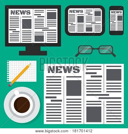 Digital electronic online newspaper on smartphone tablet and monitor. Glasses pencil cup of coffee and piece of paper. EPS10 vector illustration in flat style.