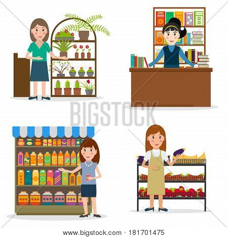 Seller at the counter set. Female salespersons of bookstore flowershop and groceries. EPS10 vector illustration in flat style.