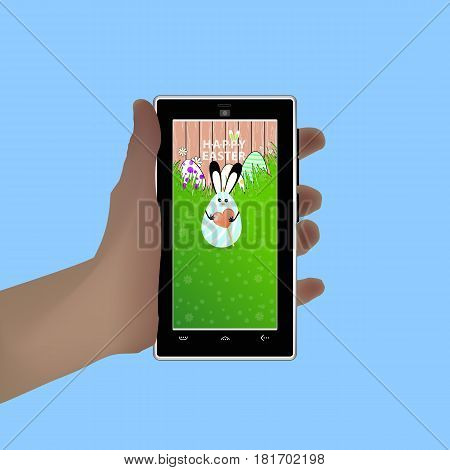 Easter. Hold in your hand a smart phone. Illustration for your design. Eared rabbit-egg blue and striped hold in the hands of caramel in the shape of a heart